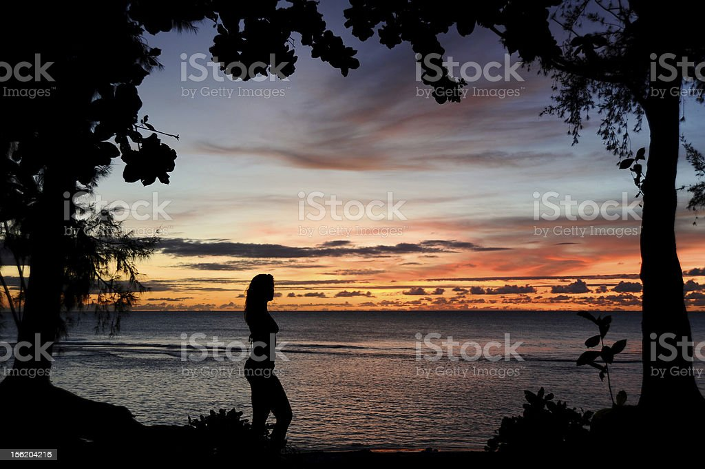 Attractive Woman at Sunset royalty-free stock photo