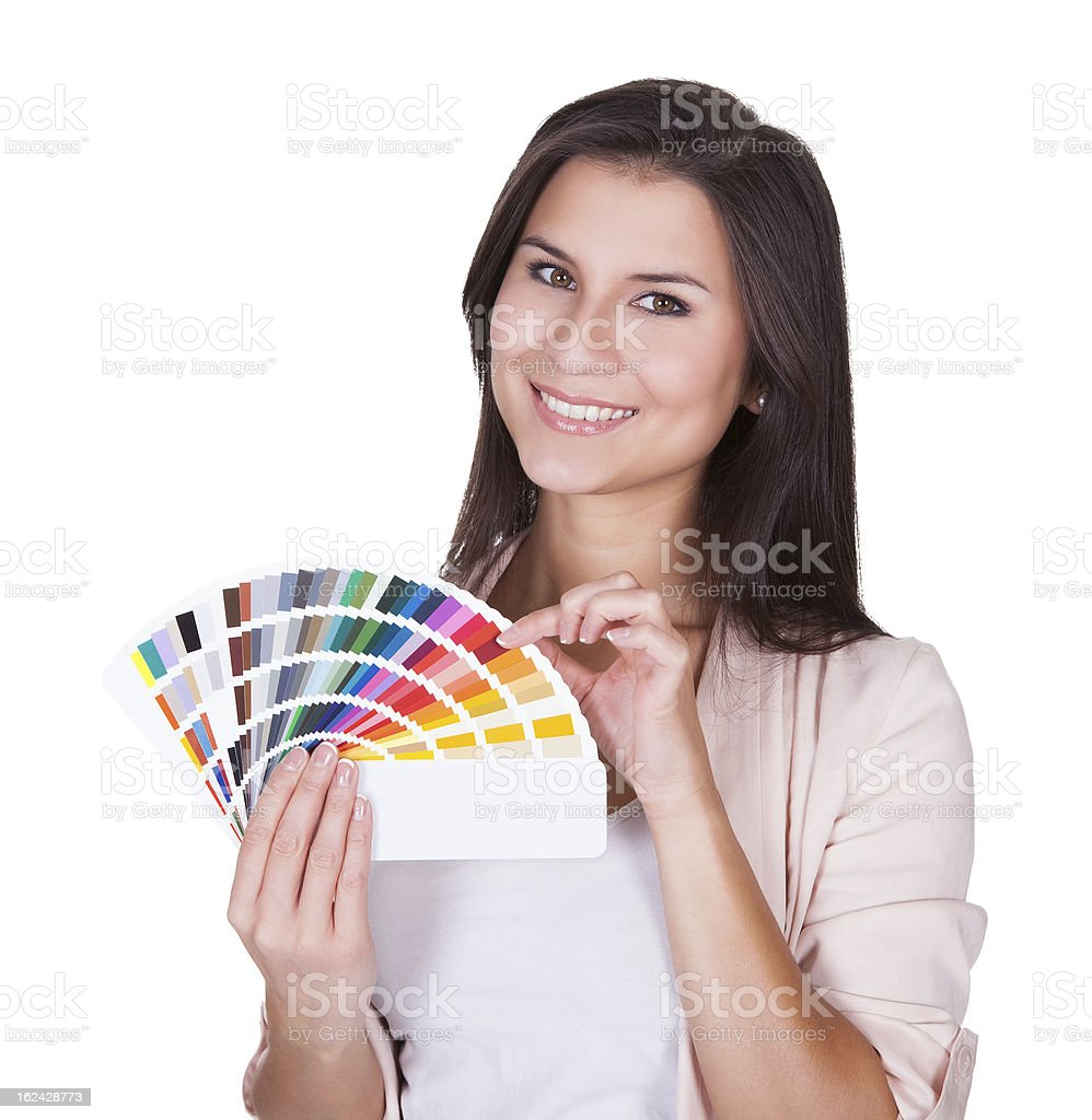 Attractive woman chooses a color scheme royalty-free stock photo