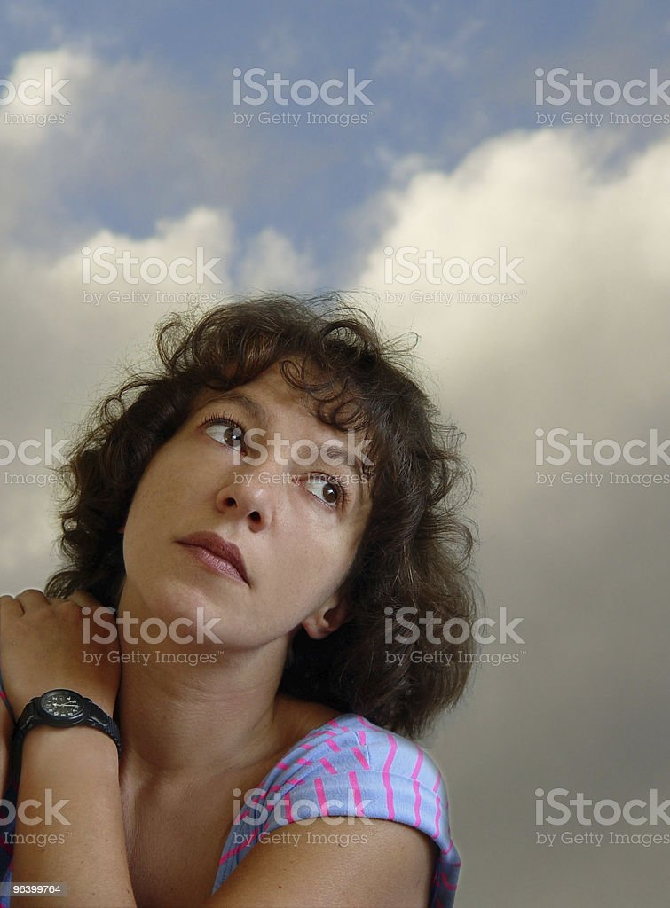Attractive woman daydreaming royalty-free stock photo