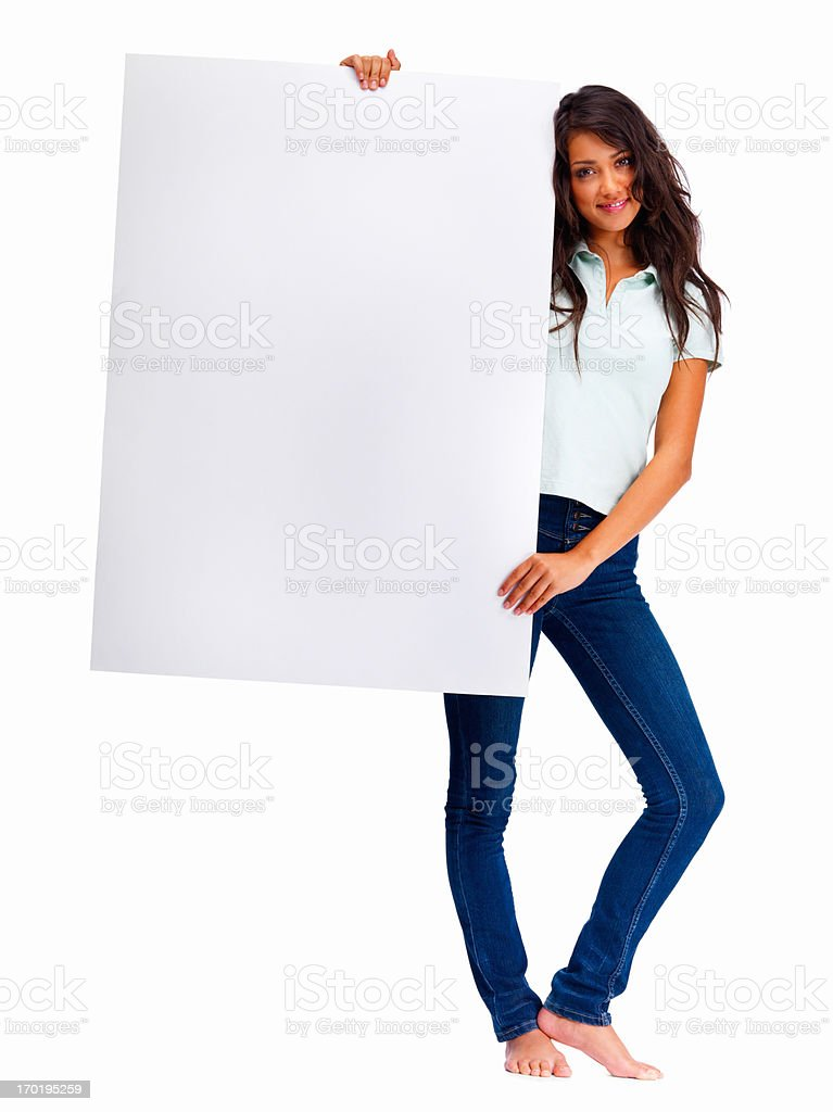 Attractive woman holding a blank board on white background stock photo