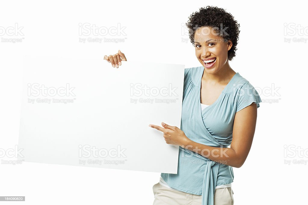 Attractive Woman Holding Up a Blank Sign - Isolated royalty-free stock photo