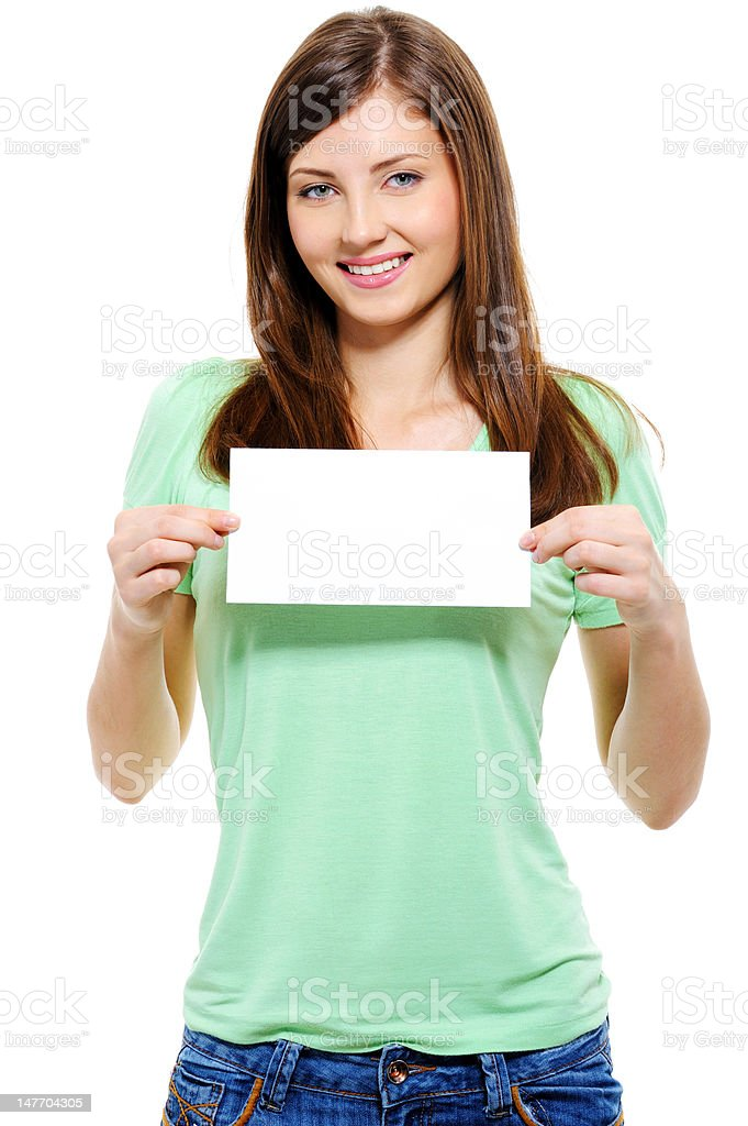 attractive  woman holding white card royalty-free stock photo