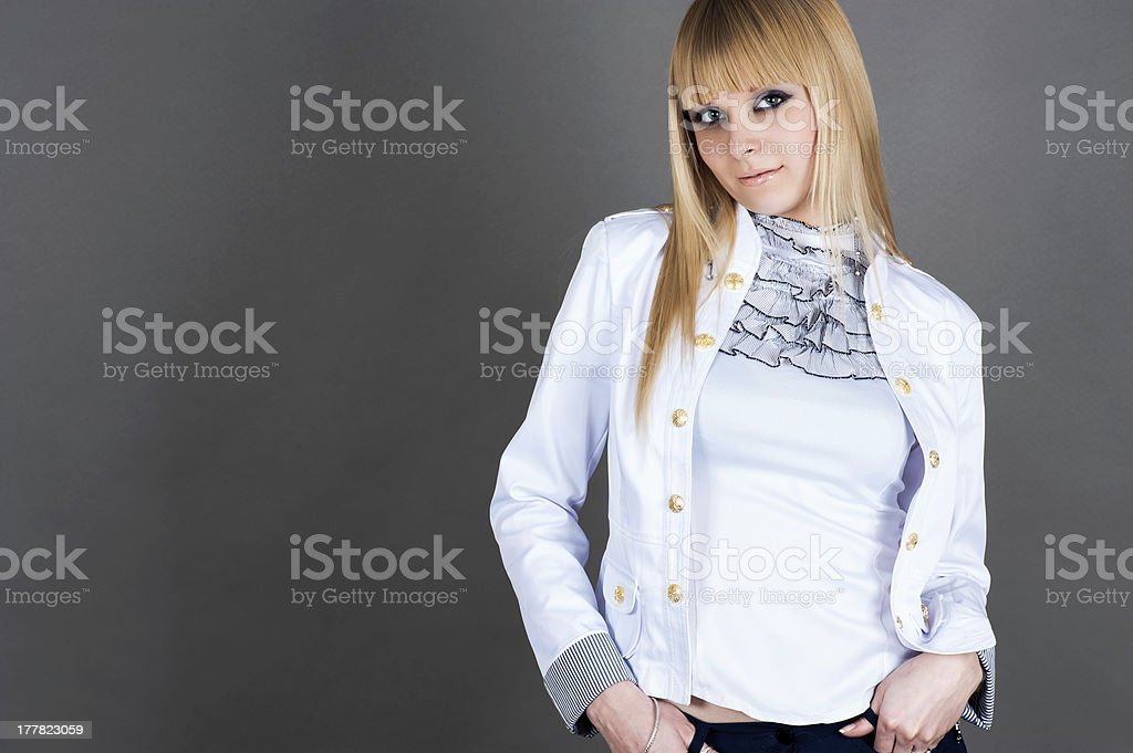 attractive woman in a jacket royalty-free stock photo