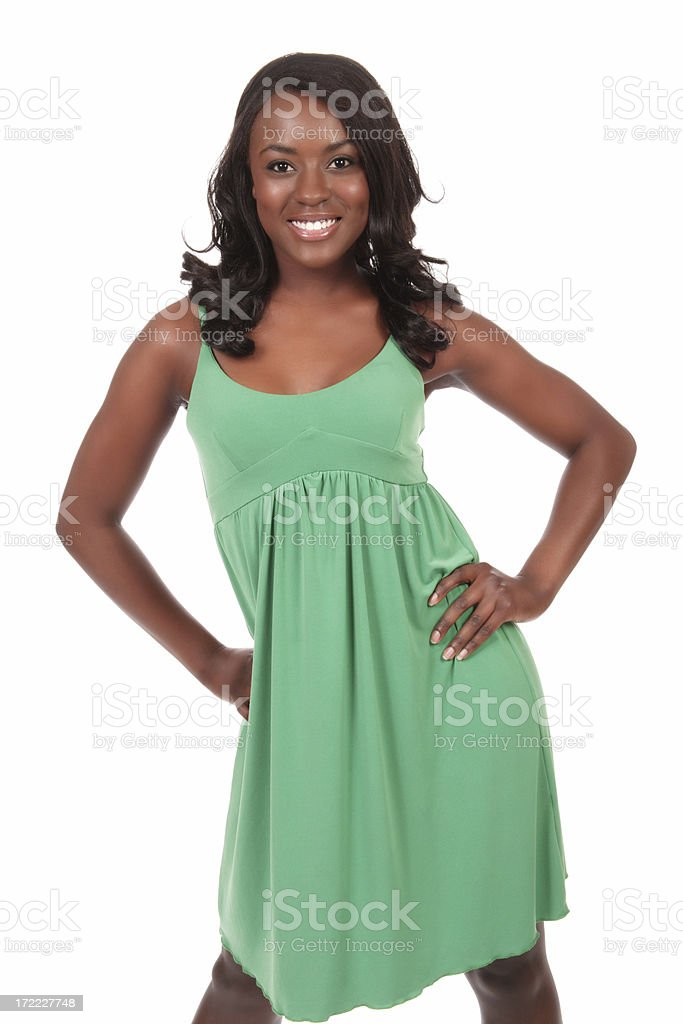 Attractive Woman in Green Dress stock photo
