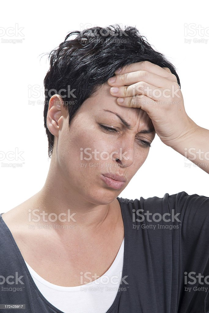 Attractive woman in pain royalty-free stock photo