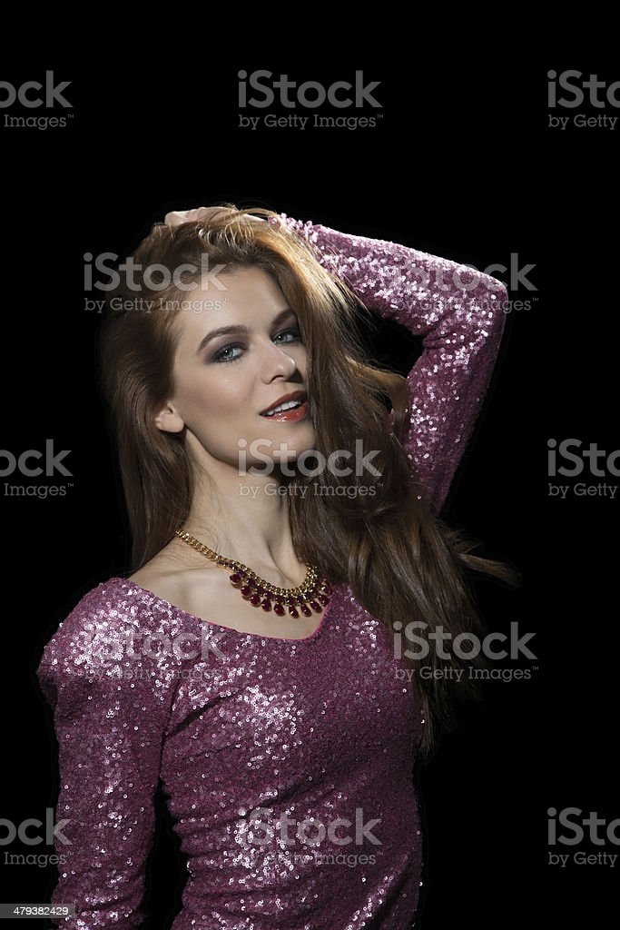 Attractive Woman in Party Dress. Vogue royalty-free stock photo