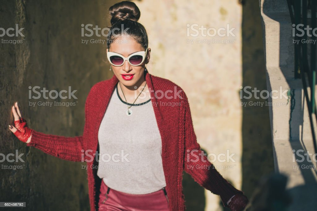 Attractive woman in passage stock photo