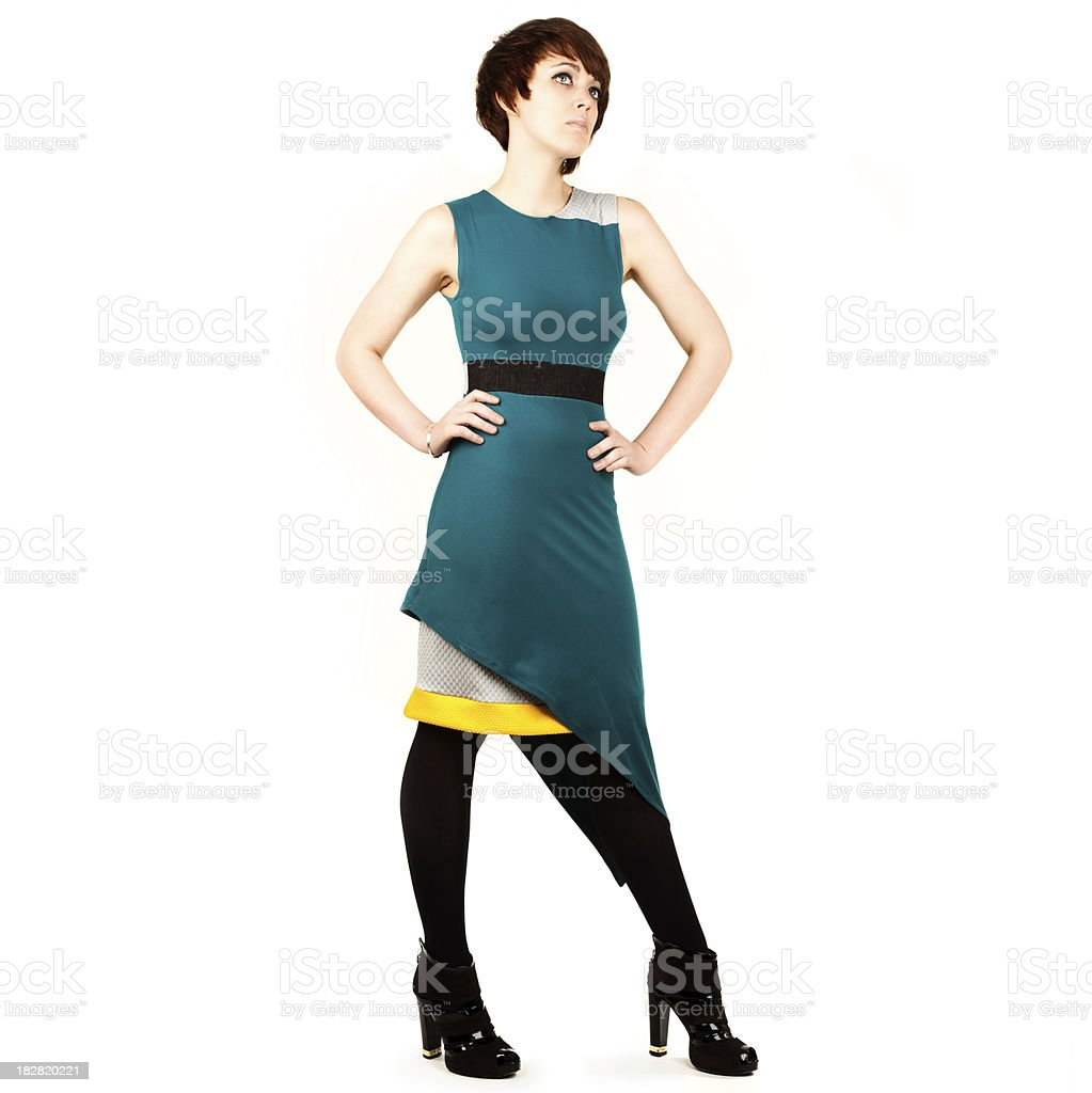 Attractive Woman in Retro Dress. Full Body on White Background. stock photo