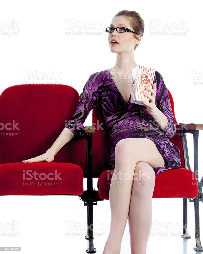 Attractive woman in theatre isolated on white background royalty-free stock photo