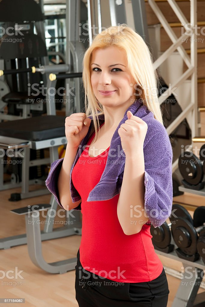 attractive woman is practising the boxing stock photo