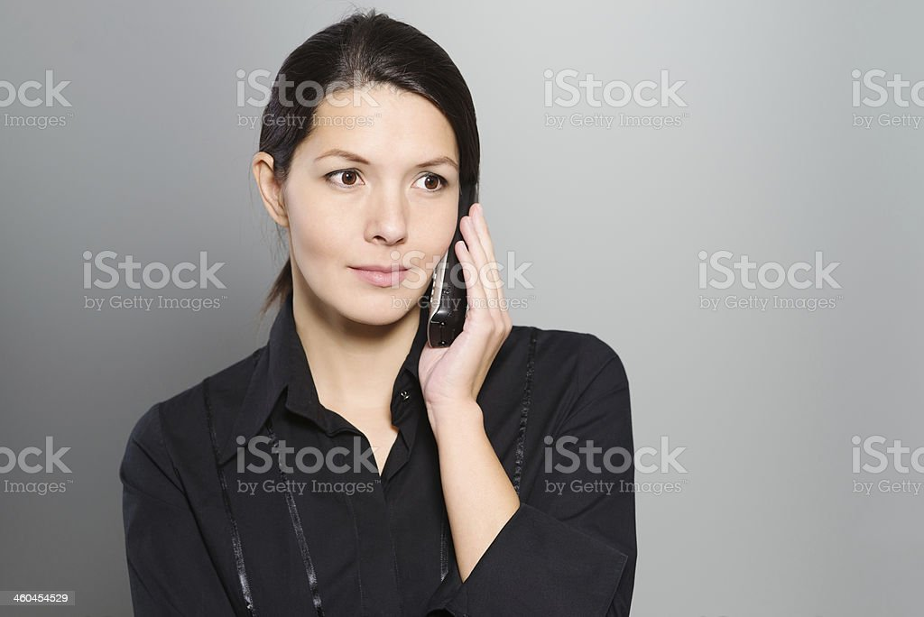 Attractive woman listening to a conversation stock photo