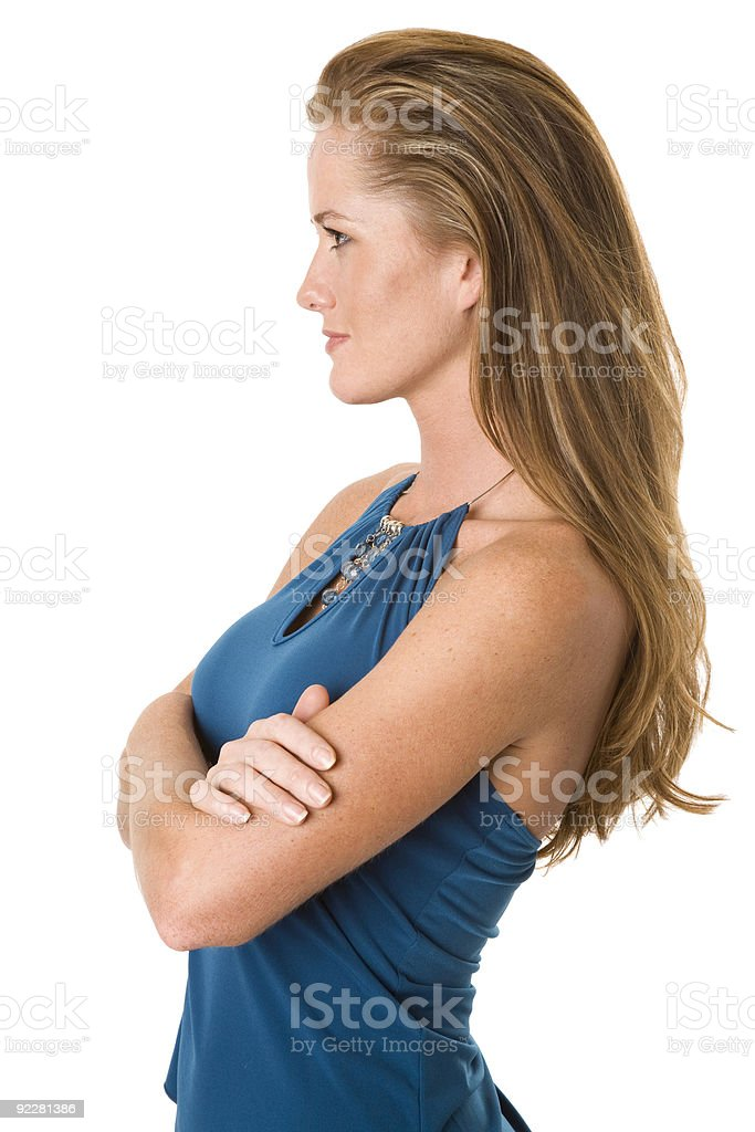Attractive woman looking off to the left stock photo