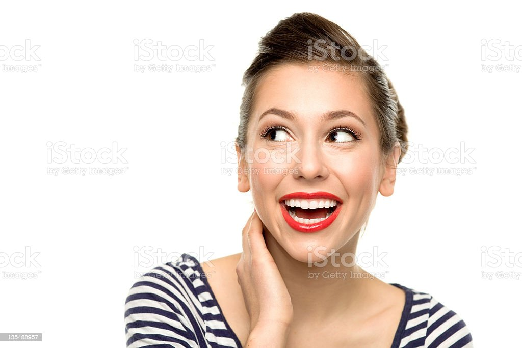 Attractive woman looking up stock photo