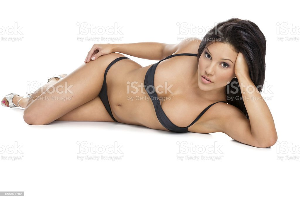 Attractive Woman Lying in a Bikini stock photo