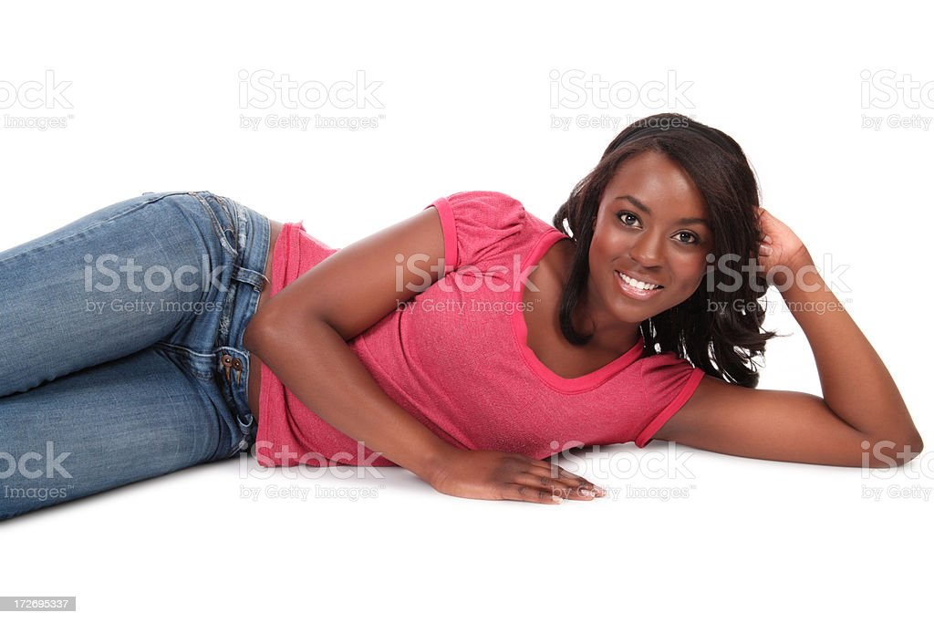 Attractive Woman Lying on Side stock photo