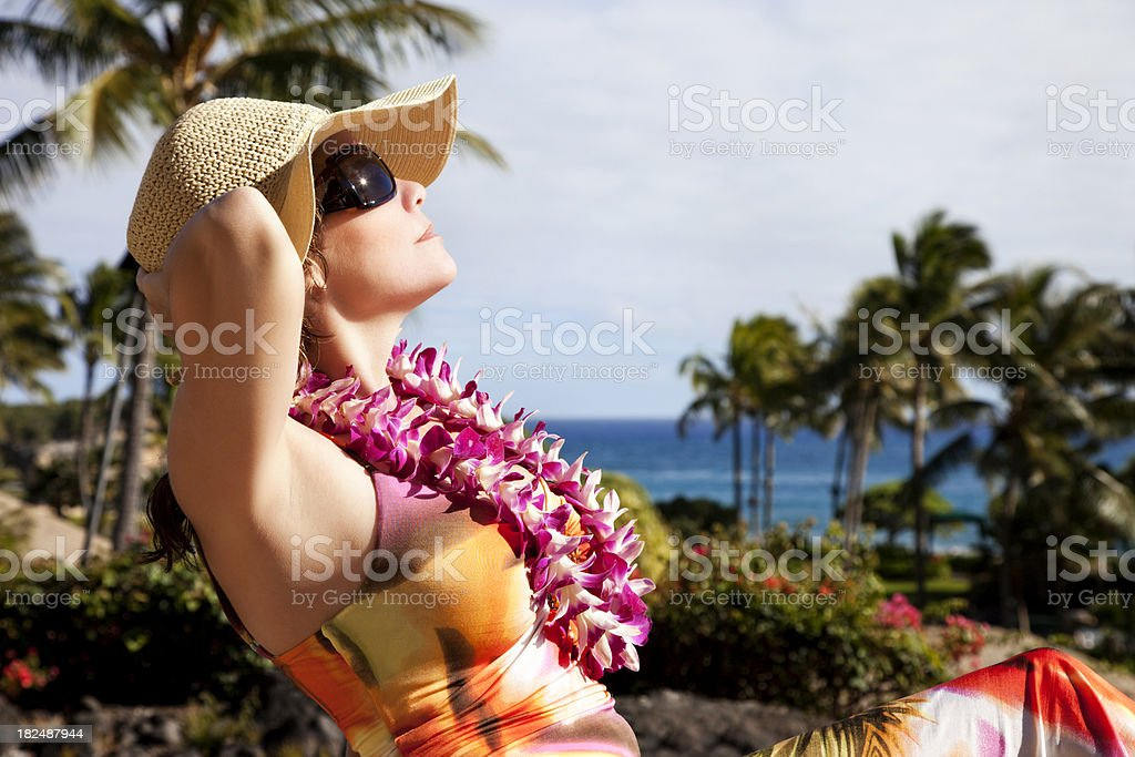 Attractive Woman on Hawaiin Vacation royalty-free stock photo