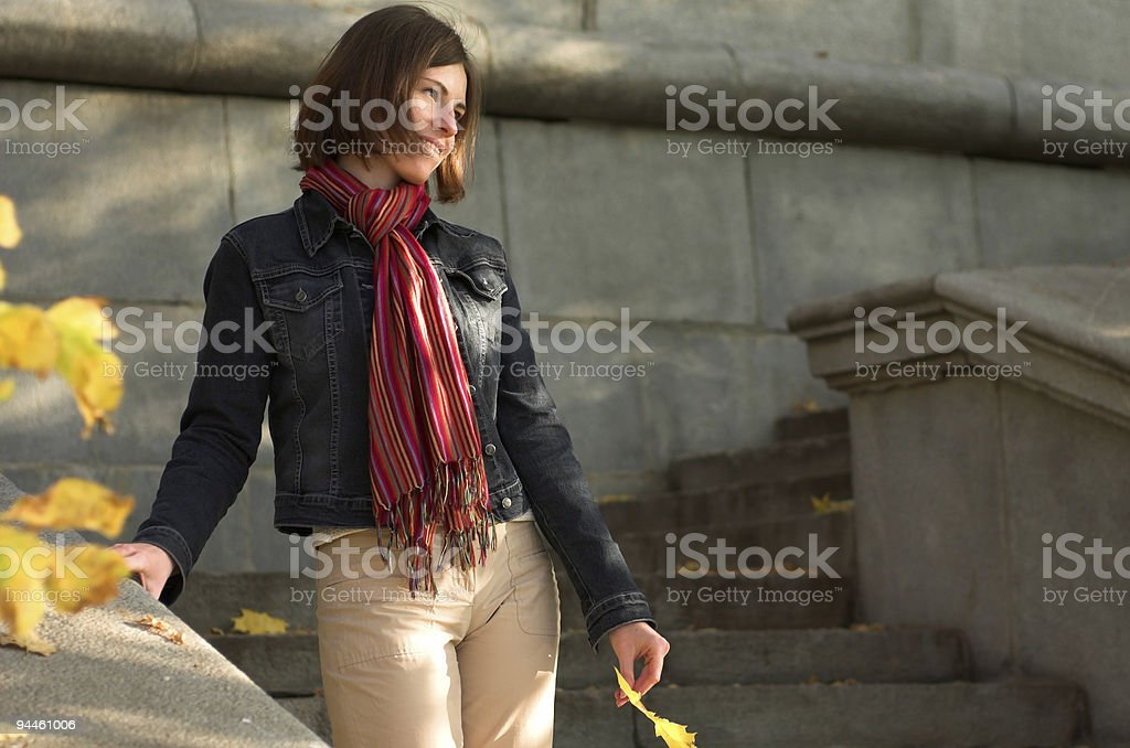 Attractive woman on the stairs royalty-free stock photo