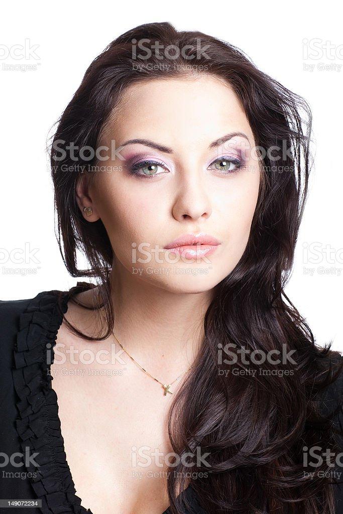 Jolie femme sur fond blanc photo libre de droits