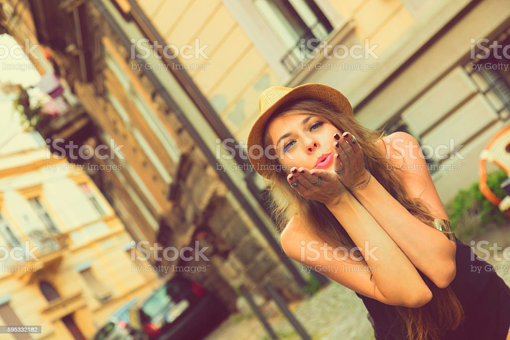 Attractive woman posing outdoors. stock photo