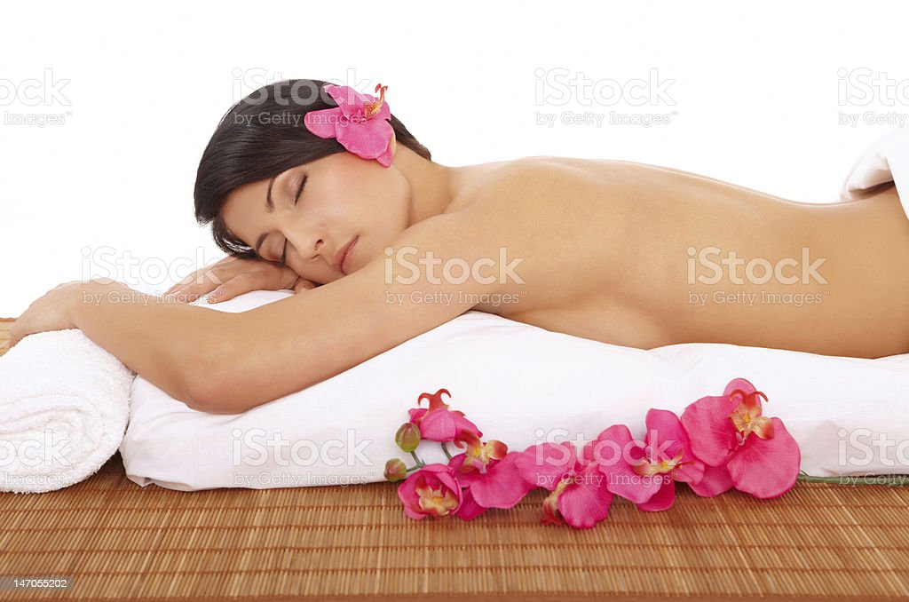 Attractive Woman Relaxing Spa royalty-free stock photo
