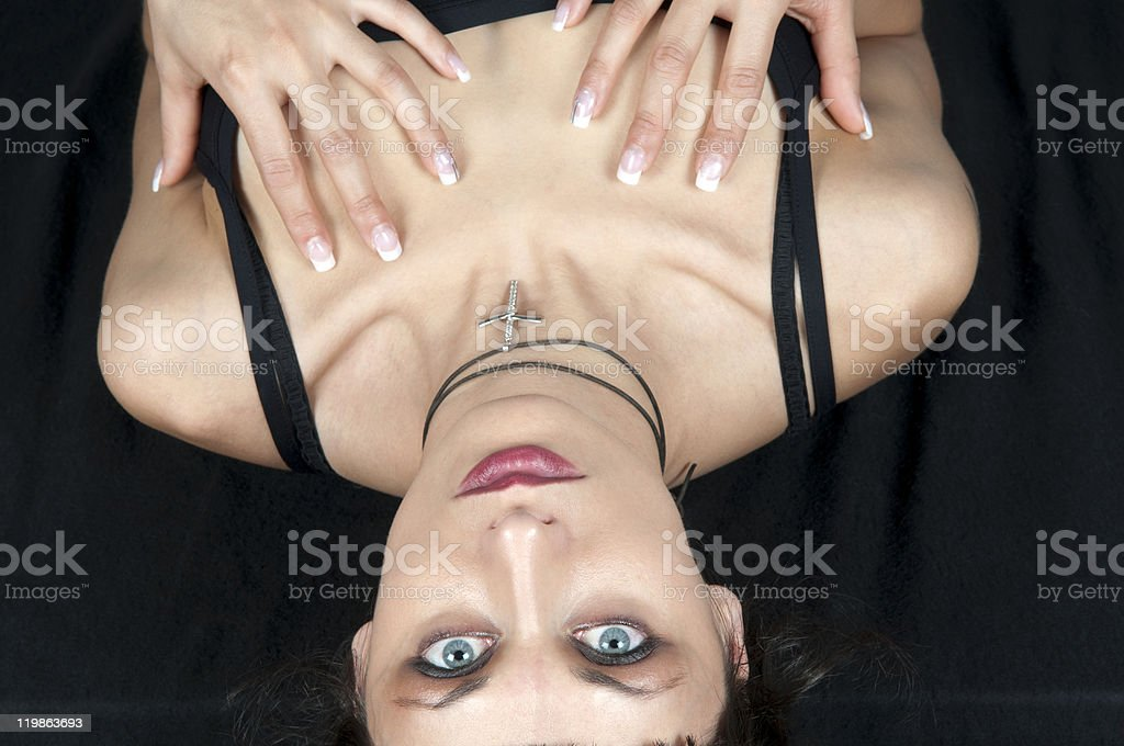 Attractive Woman Seen From Above royalty-free stock photo