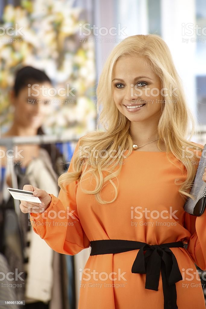 Attractive woman shopping royalty-free stock photo