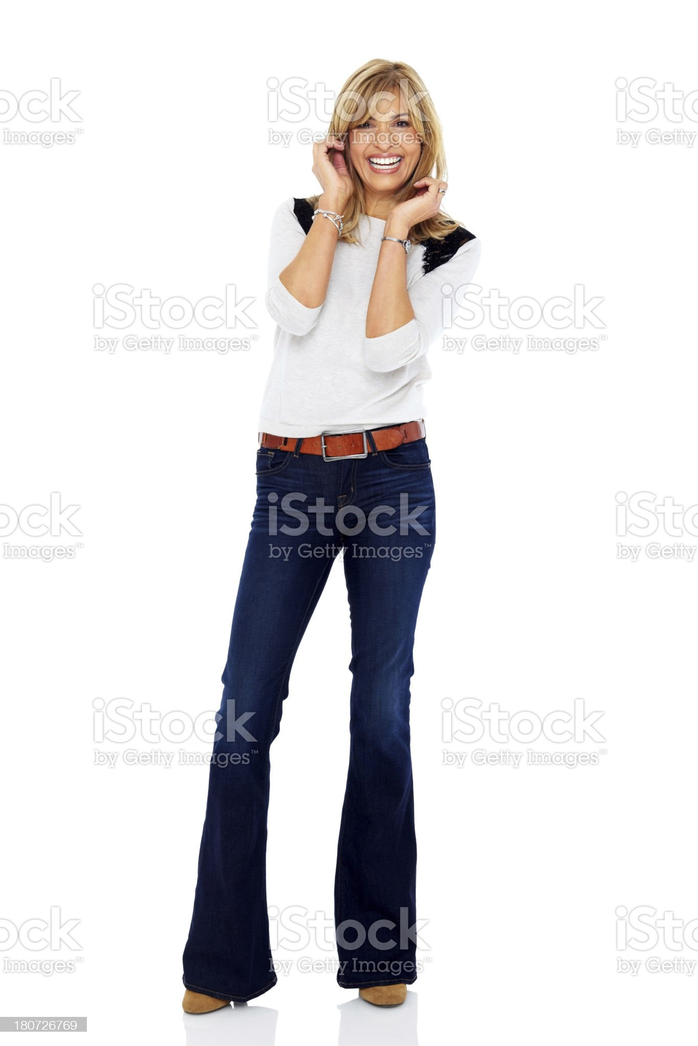 Attractive woman smiling over white background royalty-free stock photo