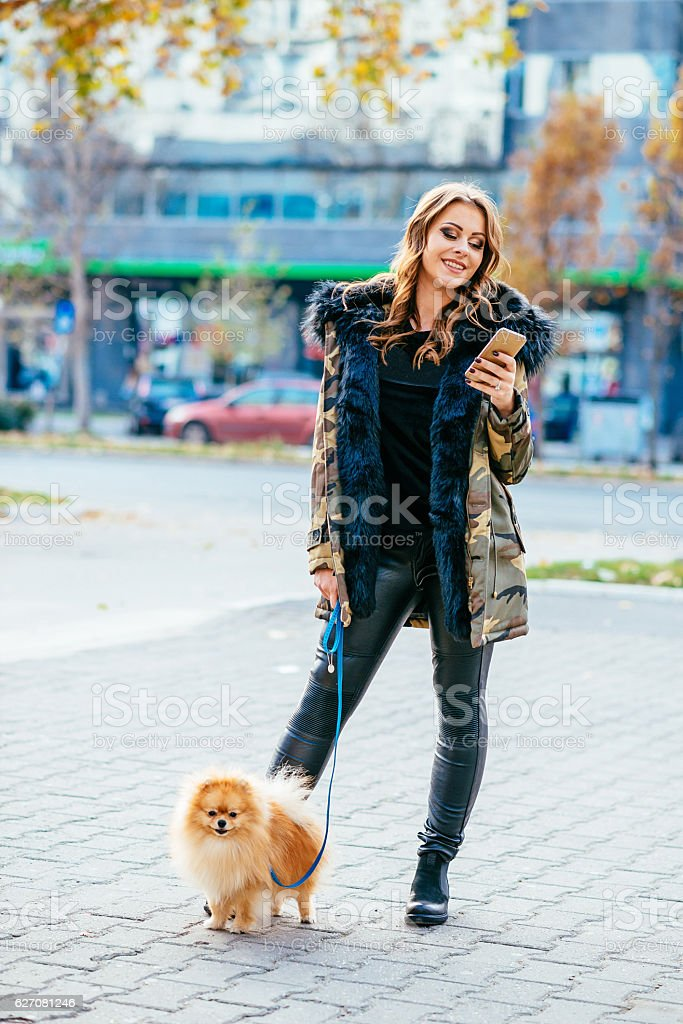 Attractive woman walking the dog in city stock photo