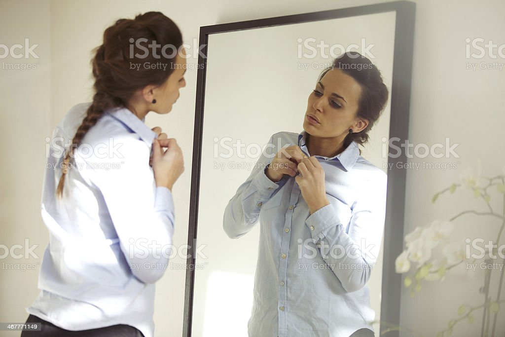 Attractive woman wearing shirt stock photo