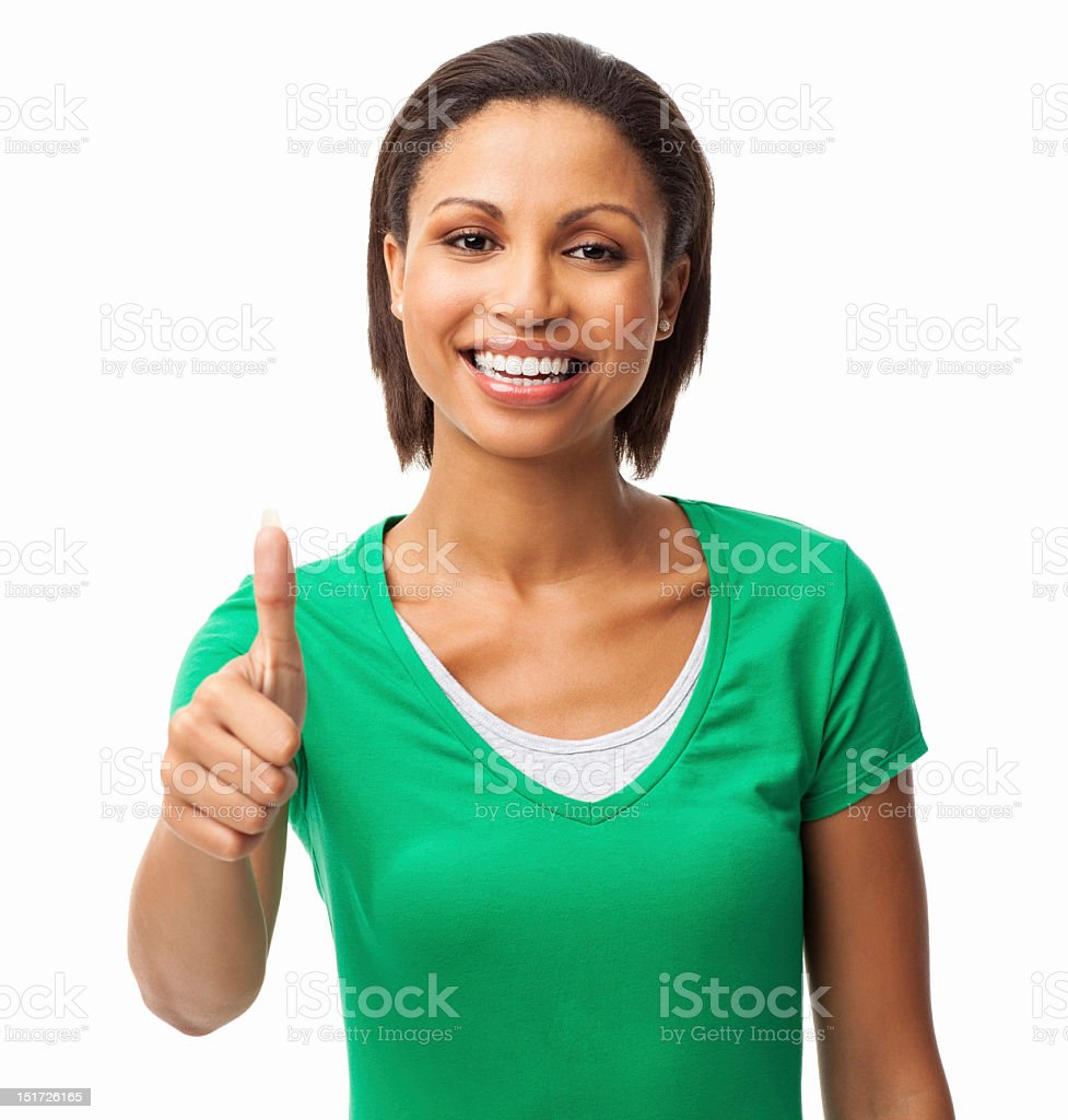 Attractive Woman Wishing Good Luck - Isolated royalty-free stock photo