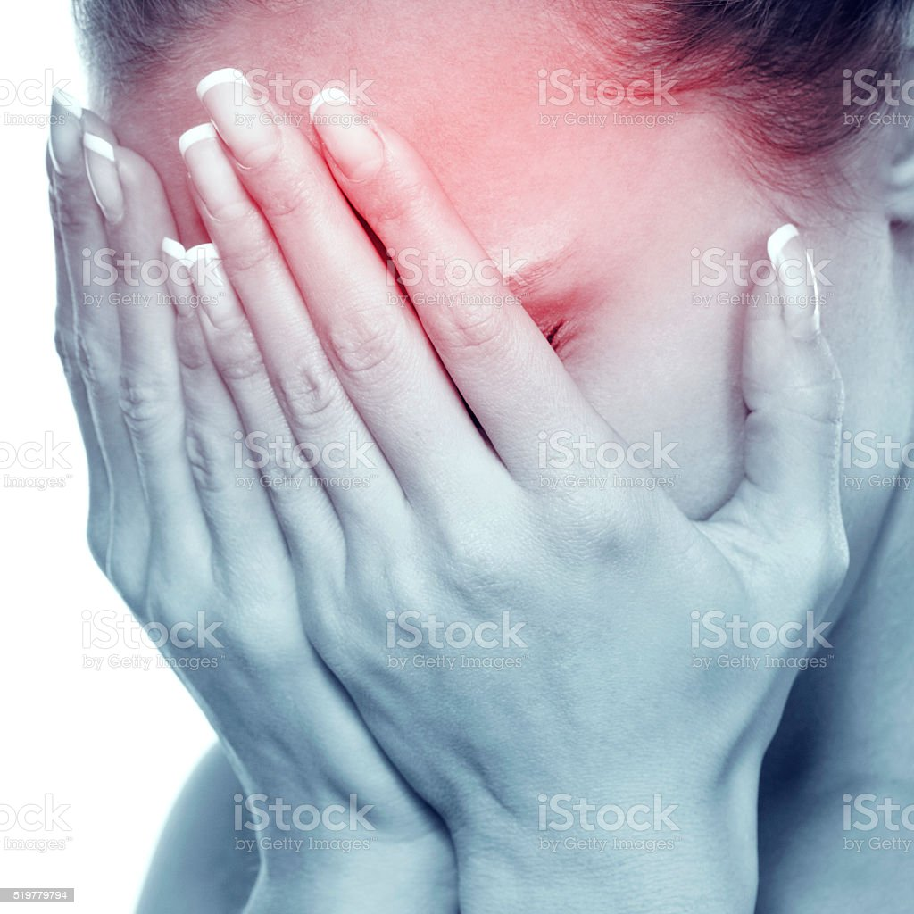attractive woman with an awful migraine stock photo