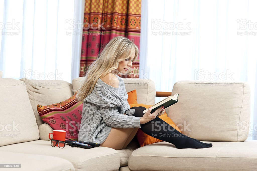 attractive woman with book royalty-free stock photo