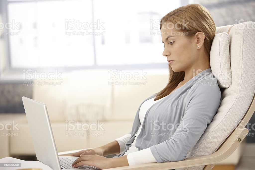 Attractive woman with computer royalty-free stock photo