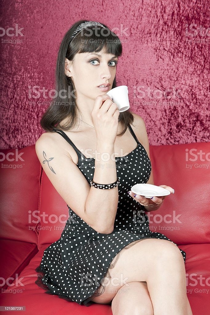 Attractive Woman With Cup of Coffee royalty-free stock photo