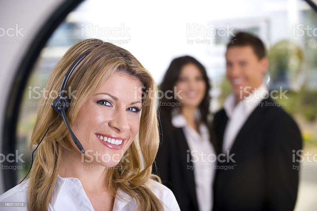 Attractive woman with haeadset royalty-free stock photo
