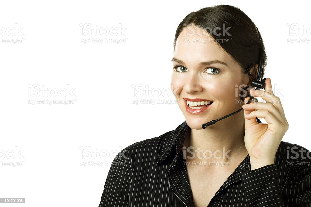 Attractive woman with headset isolated over white royalty-free stock photo