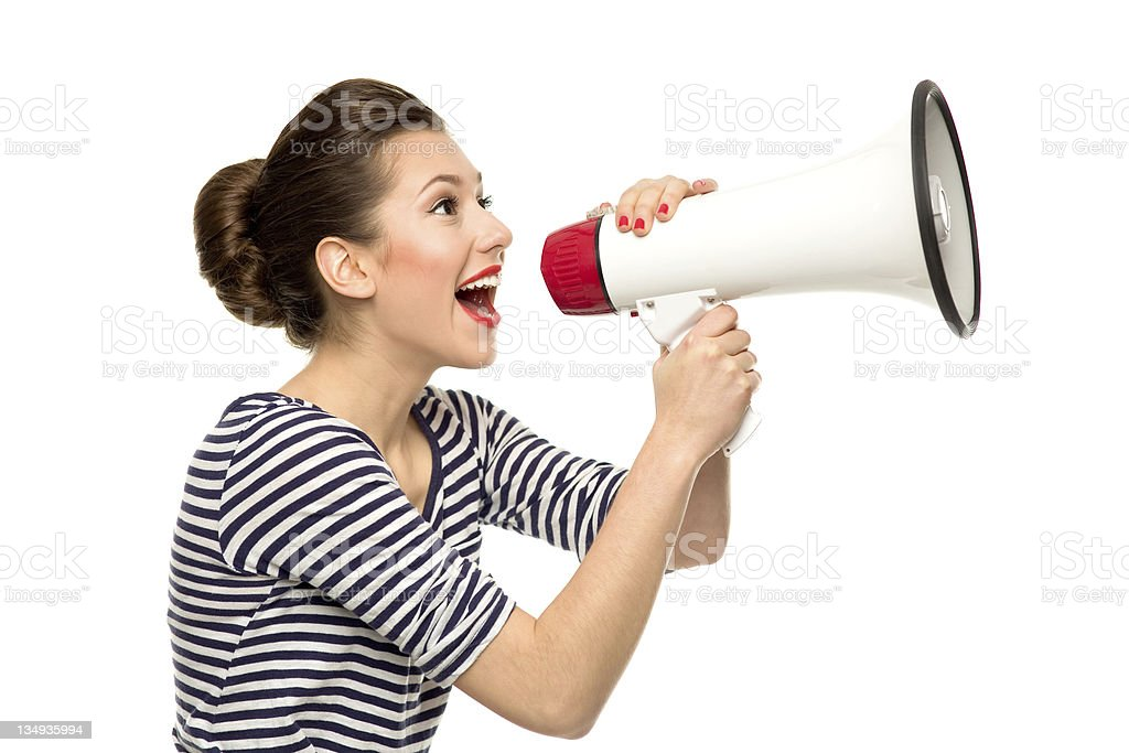 Attractive woman with megaphone stock photo