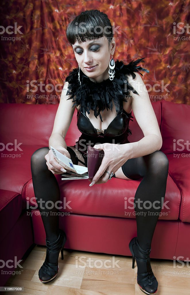 Attractive Woman with Money and Passport royalty-free stock photo