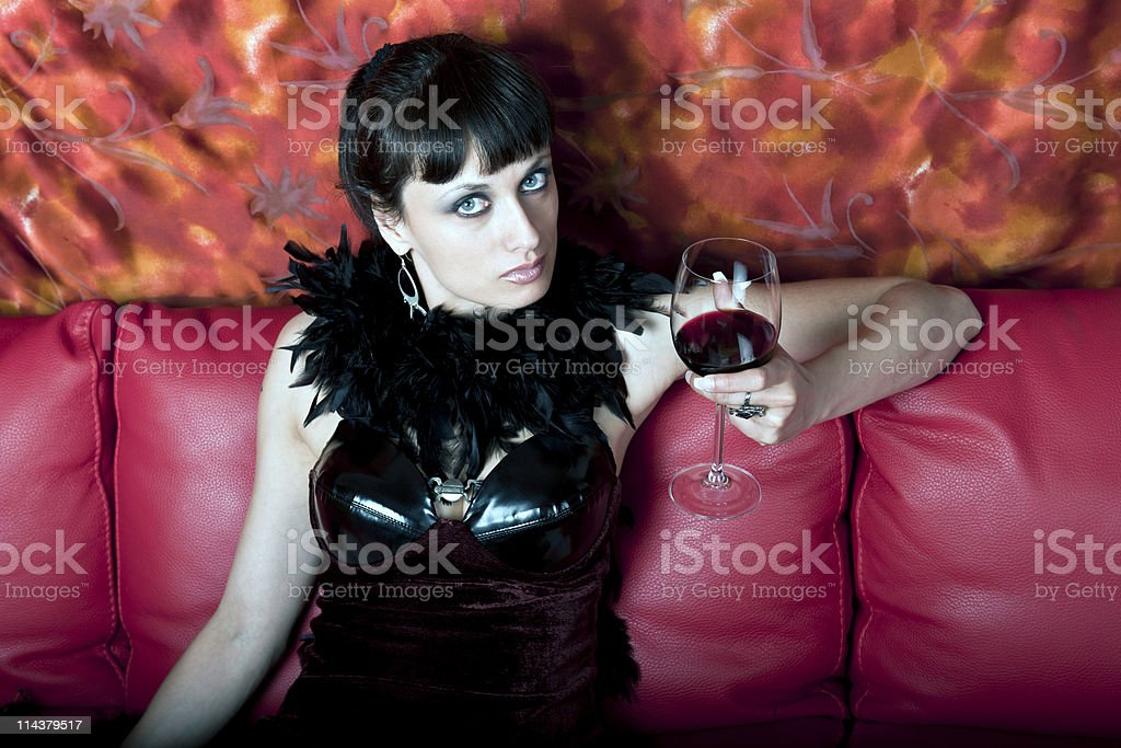 Attractive Woman with Red Wine royalty-free stock photo