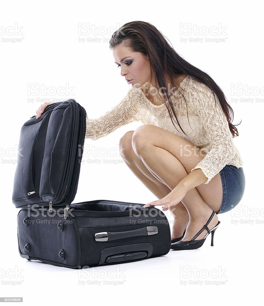 attractive woman with sexy body packing case royalty-free stock photo