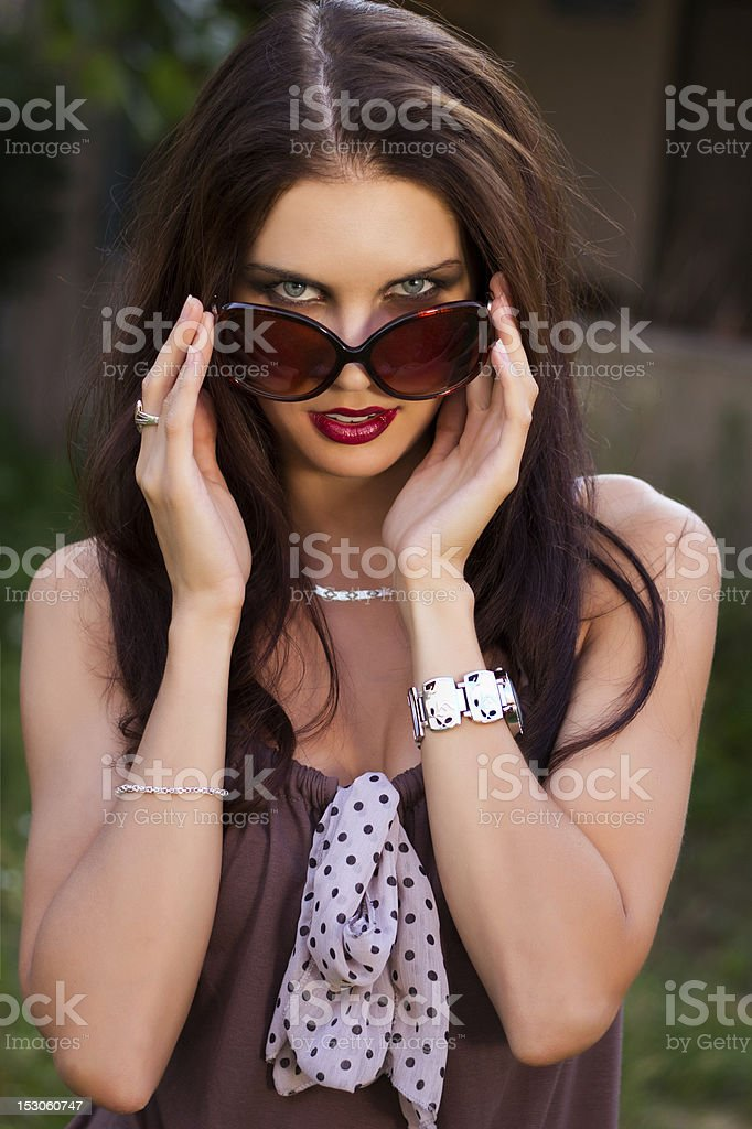 Attractive woman with sunglasses royalty-free stock photo