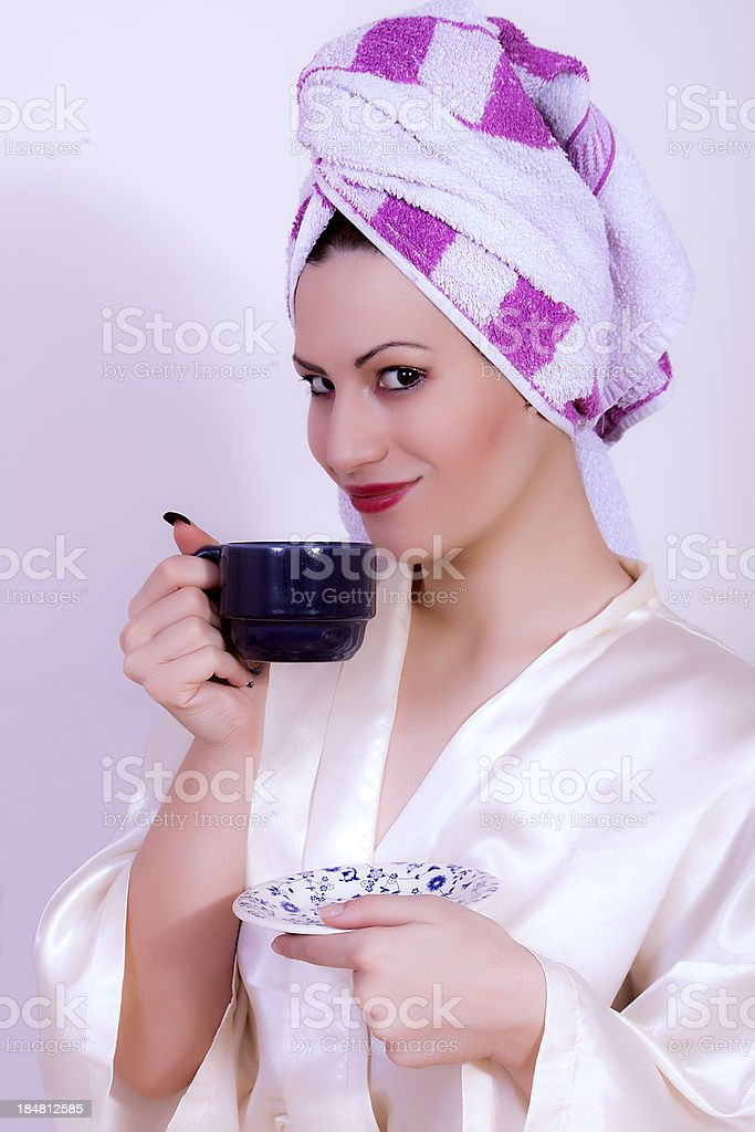 attractive woman with the cup of coffee royalty-free stock photo
