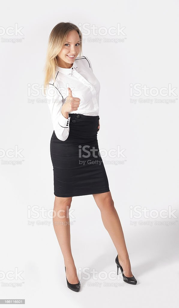Attractive woman with thumb up royalty-free stock photo