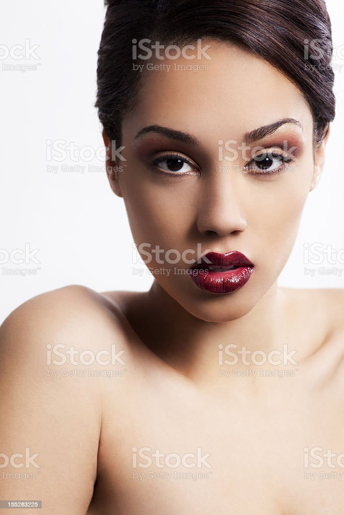 Attractive woman with updo royalty-free stock photo