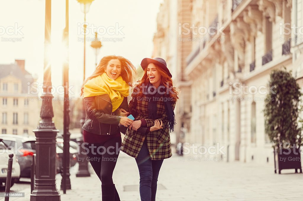 Attractive women sightseeing in Paris stock photo