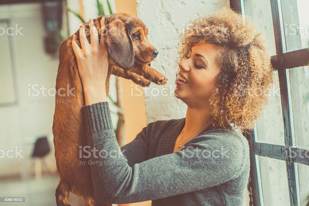 attractive young african woman playing with puppy stock photo