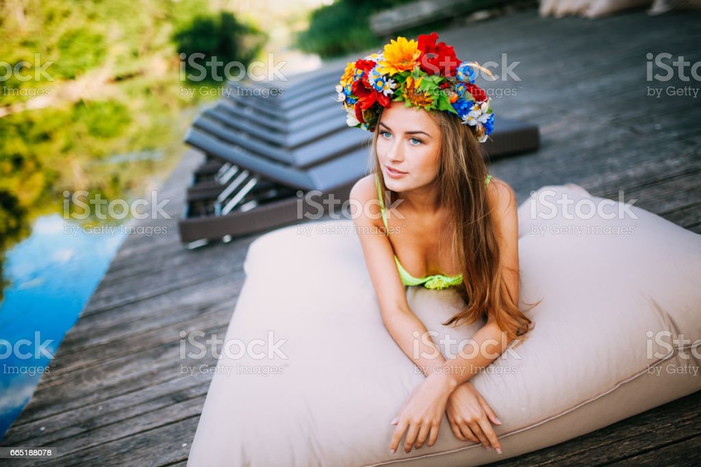 Attractive, young and beautiful girl on the beach stock photo
