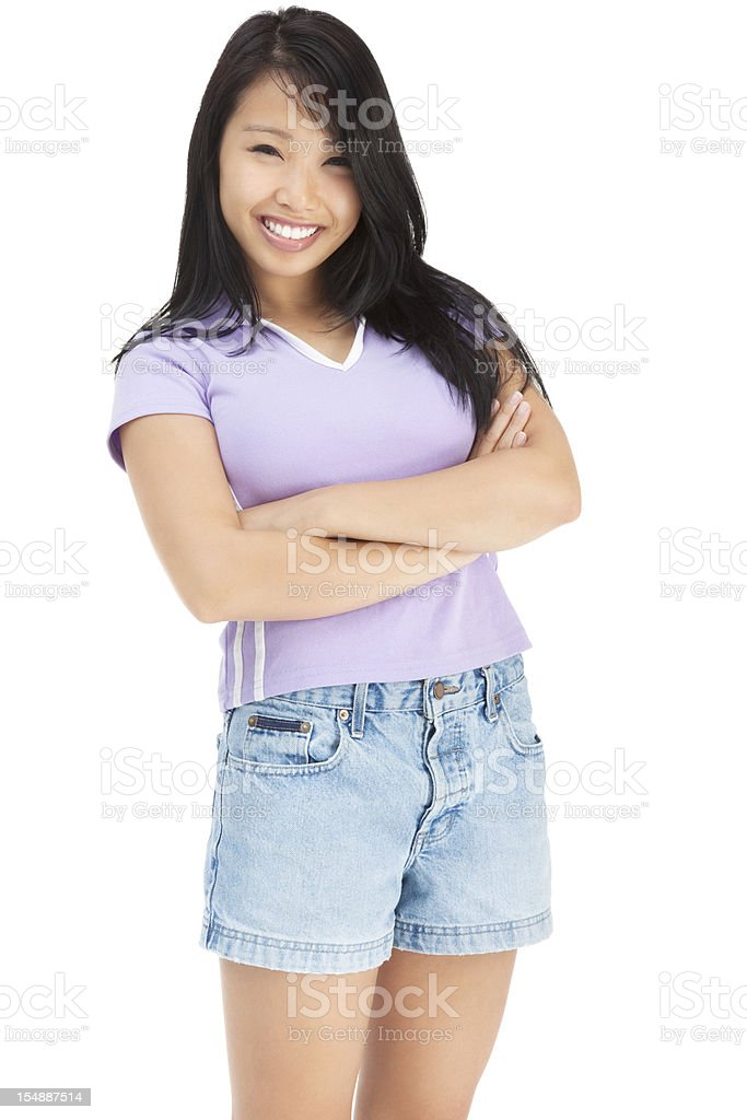 Attractive Young Asian Woman in Collared T-shirt and Shorts royalty-free stock photo