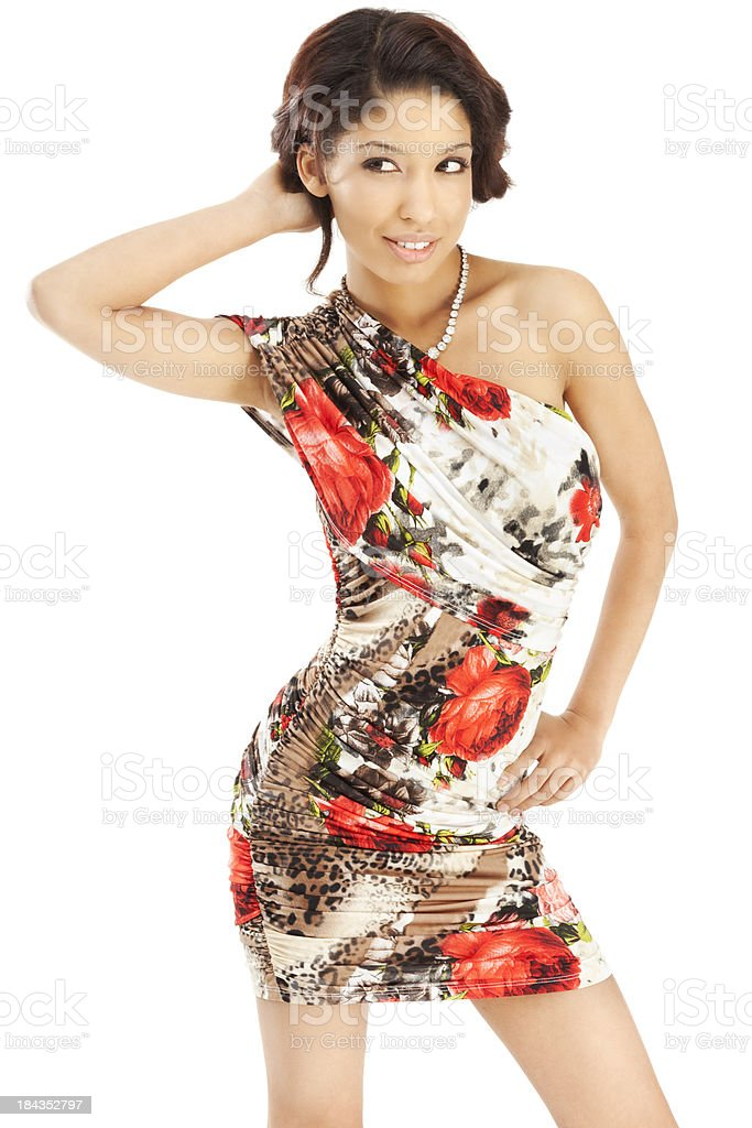 Attractive Young Asian Woman in Stylish Floral Pattern Dress royalty-free stock photo