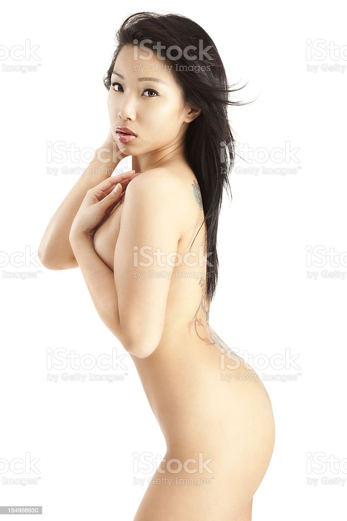 Attractive Young Asian Woman Posing Nude on White royalty-free stock photo